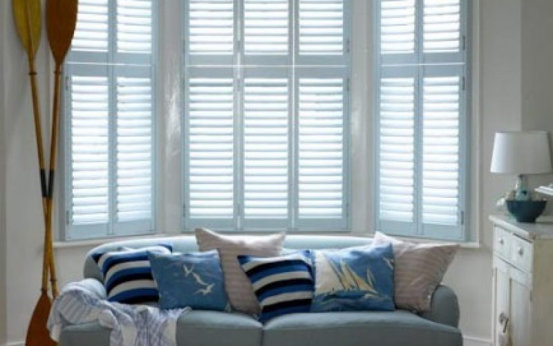 Lounge Shutters in Sea Blue Colour