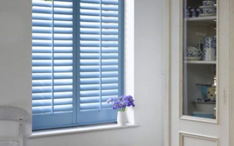 Subtle Custom Blue Plantation Shutters